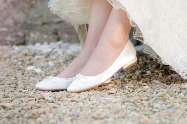 Brautschuhe flach ivory